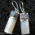 925 Silver Rainbow Moonstone & Shell Earrings ER-523-KT