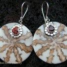 925 Silver Garnet & Shell Earrings ER-539-KT