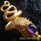 925 Silver & Gold Vermeil Amethyst Snake Ring GPR-110-NY