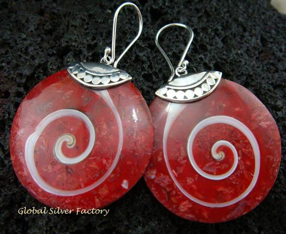 Sterling Silver Red Shell Earrings ER-547-KT