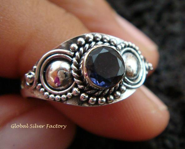 Sterling Silver Blue Sapphire Gemstone Ring RI-281-KT