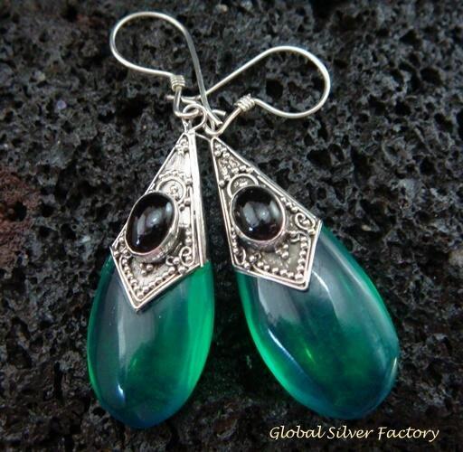 925 Silver Syn Green Quartz & Black Onyx Earrings SJ-220-KT
