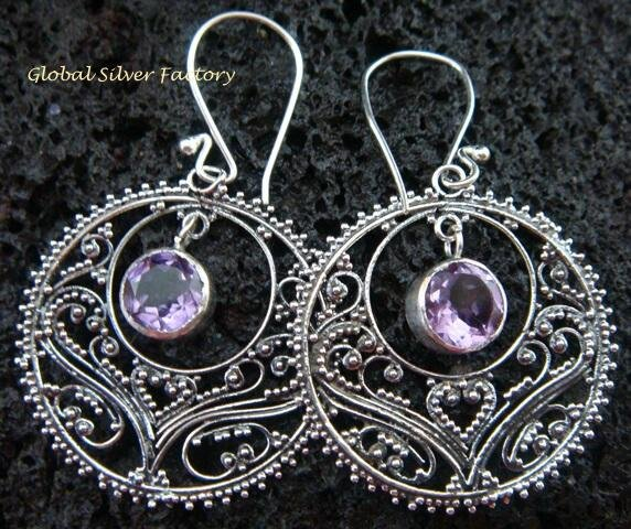 925 Silver Amethyst Bali Ornate Design Earrings ER-520-KT