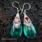 925 Silver Syntethic Green Quartz & Garnet Earrings SJ-129-KT