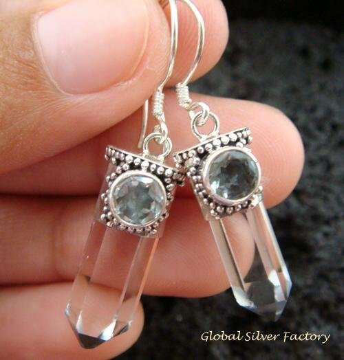 925 Silver Blue Topaz & Crystal Earrings ER-534-KT