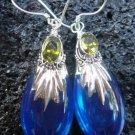 Sterling Silver Blue Agate (syn)&Peridot Earrings SJ-168-KA