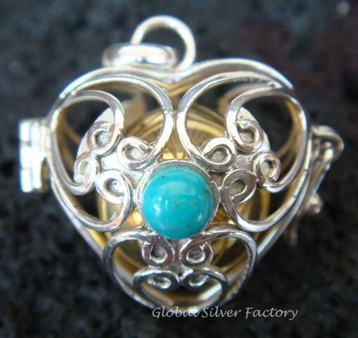 Silver Turquoise Heart Harmony Ball Pendant HB-232-KT