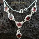 Sterling Silver & 6 Garnet Necklace NS-114-PS