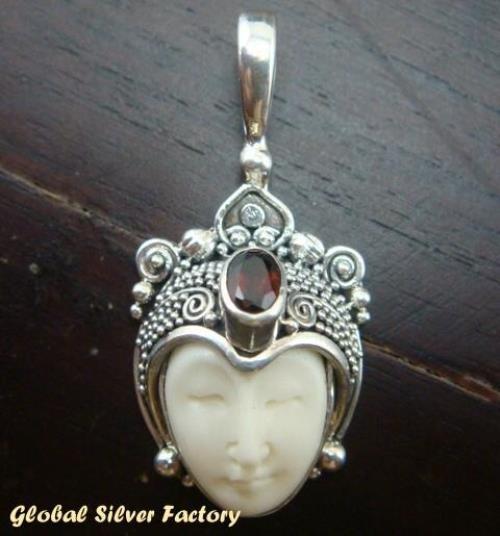 Sterling Silver Garnet Carved Bone Goddess Pendant GDP-169-KT