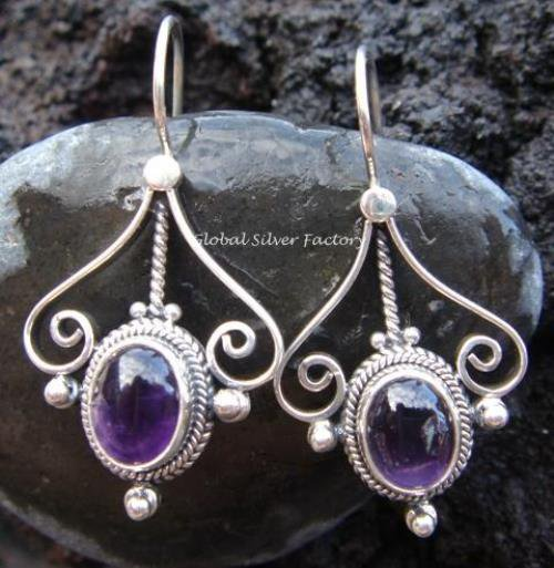 925 Silver & Amethyst Small Curve Earrings ER-318-NY