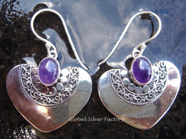 925 Silver & Amethyst Heart Shape Earrings ER-312-NY