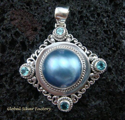 925 Silver Pearl & Blue Topaz Bali Designer Pendant SP-431-KT