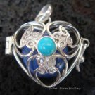 Silver Turquoise Heart Harmony Ball Pendant HB-232c-KT