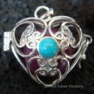 Silver Turquoise Heart Harmony Ball Pendant HB-232d-KT