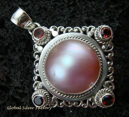 925 Silver Pearl & Garnet Bali Designer Pendant SP-434-KT
