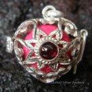 Silver Garnet Flower Heart Harmony Ball Pendant HB-229b-KT