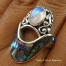 925 Silver Paua Shell & Moonstone Ring RI-291-KT