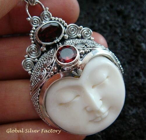 Sterling Silver & Garnet Goddess Pendant GDP-996-PS