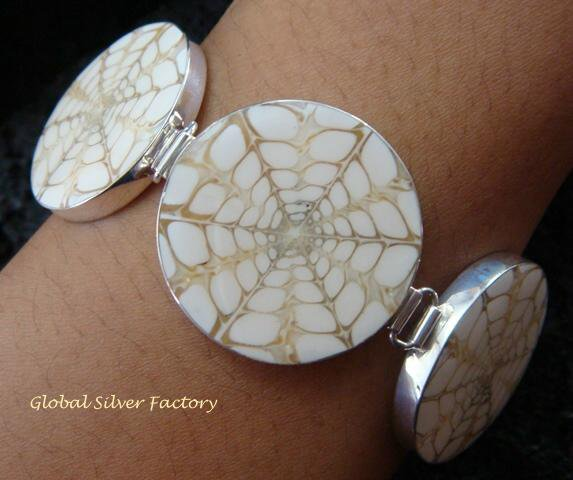 925 Silver & Screw Shell Simple Link Bracelet SBB-332-KT