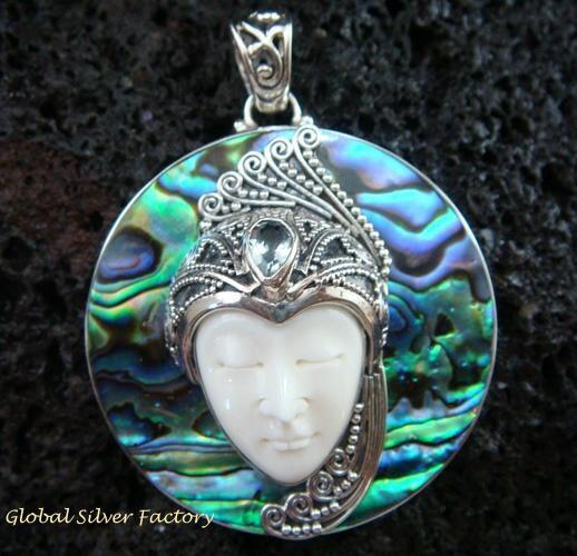 925 Silver Paua Shell & Topaz Goddess Pendant GDP-984-PS