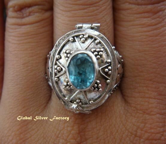 925 Silver & Blue Topaz Poison Ring LR-429-KT