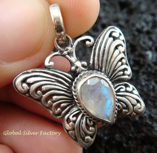 925 Silver & Moonstone Butterfly Pendant SP-479-KT