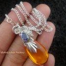 925 Silver Amethyst Synthetic Amber Teardrop Pendant SJ-119-KA