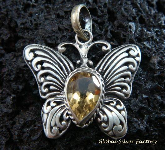 925 Silver & Citrine Butterfly Pendant SP-475-KT