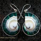 Sterling Silver Green Nautilus Shell Earrings ER-536-KT