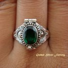 925 Silver & Green Quartz Locket Ring LR-486-KT