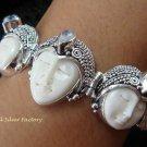 925 Silver & Rainbow Moonstone Three Face Goddess Bracelet GDB-1013-KT