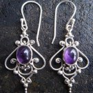 925 Silver & Amethyst Curly Balinese Earrings ER-286-NY