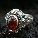 925 Silver & Amber Poison Ring LR-485-KT