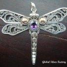 Silver 925 Butterfly Amethyst Pendant SP-324-IKP