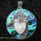925 Silver Paua Shell & Moonstone Goddess Pendant GDP-987-PS