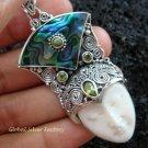 925 Silver Paua Shell & Peridot Goddess Pendant GDP-980-PS