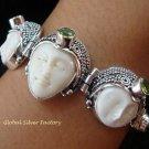 Sterling Silver & Peridot Three Face Goddess Bracelet GDB-1011-KT