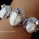 Sterling Silver & Garnet Three Face Goddess Bracelet GDB-1010-KT