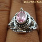925 Silver Rose Quartz Poison Ring LR-395-KT