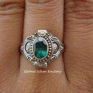 Sterling Silver Green Quartz Poison Ring LR-403-KT