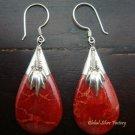 Sterling Silver Teardrop Red Coral Earrings ER-385-KT