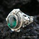 Sterling Silver Green Quartz Poison Ring LR-398-KT