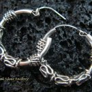 Petite Bali Style Sterling Silver Hoop Earrings SE-156-KT