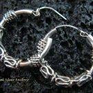 Petite Bali Style Sterling Silver Hoop Earrings SE-156-KT