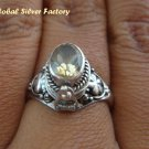 925 Silver Oval Citrine Poison Ring LR-388-KT