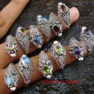 6x Wholesale Silver & Gemstone Snake Rings SSB-277-GSF