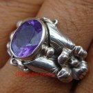 Amethyst & 925 Sterling Silver Flower Ring RI-334-NY