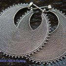 Hand Crafted 925 Silver Mess Balinese Disc Hoop Earrings SE-172-PS