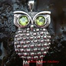 New Arrival Sterling Silver Peridot Owl Pendant SP-497-PS
