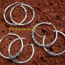 3 x Wholesale Silver Bali Hoop Earrings SSB-312-DG